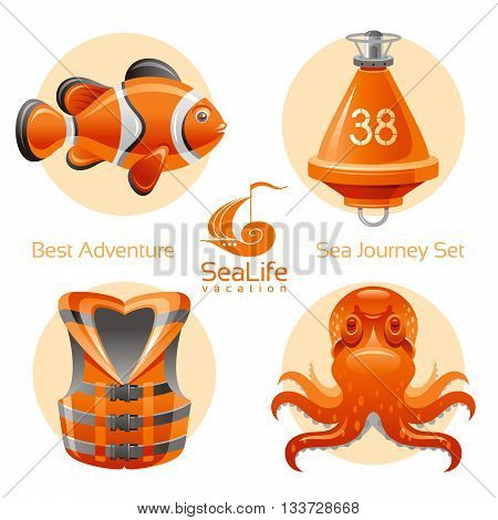 Sea travel icon set with sailing icons clown fish, octopus, buoy, life jacket