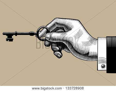 Hand with an old key. Retro style unlock sign and icon. Vintage engraving stylized drawing