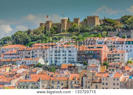 Lisbon Portugal skyline at Sao Jorge Castle in the afternoon.