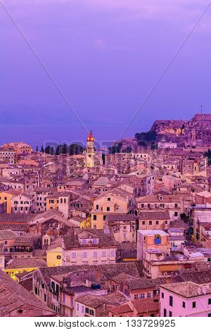 Aerial View From New Fortress On The City With St. Spyridon Church At Evening, Kerkyra, Corfu Island