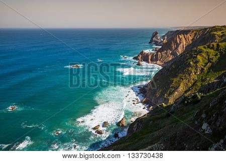 The cliffs of Cabo da Roca Portugal. The westernmost point of Europe.