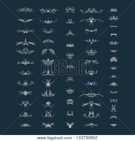 Wicker lines and old decor elements in vector. Vintage borders, frame and rosette in set. Vector page decoration.