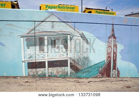 JOLIET, ILLINOIS / UNITED STATES - MAY 3, 2015: The mural