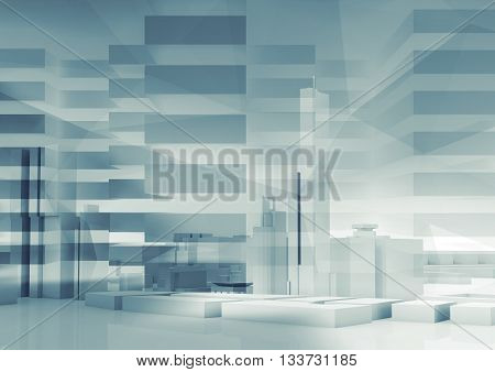 Abstract 3D City Background. Cityscape