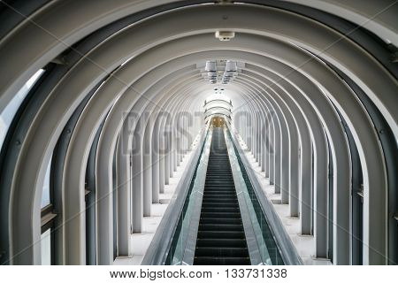 Escalator in modern building