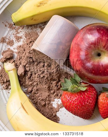 Meal replacement powder with apples and bananas