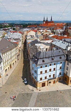 View of the main square of Olomouc from the town hall tower, Czech Republic.