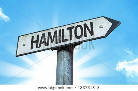 Hamilton direction sign in a concept image