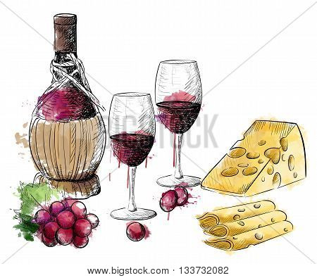 Wine collection. Vector illustration with wine barrel wine glass grapesHand draw vector.