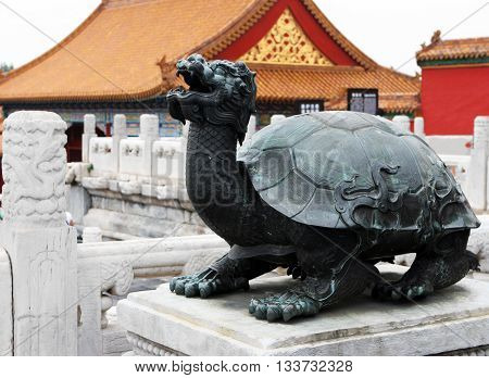 Bronze turtle symbol of longevity, wisdom and health. Forbidden City in Beijing. China.