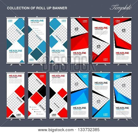 Collection of Roll Up Banner Design polygon background flyers banners labels roll-up and card template