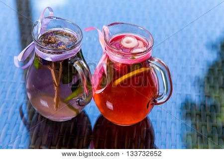 Fresh Cocktail Juice With Mint And Ice On Table. Healthy Organic Drinks. Fresh Mojito Drink With Ice