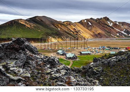 Landmannalaugar Camp among colorful mountains and fields of lava Iceland