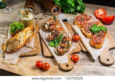 Beautiful Fresh Sandwiches With Meat Pate With Vegetables And Greens