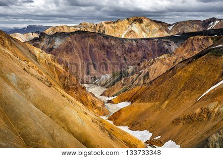 Colorful valley in rhyolite mountains near Landmannalaugar Iceland