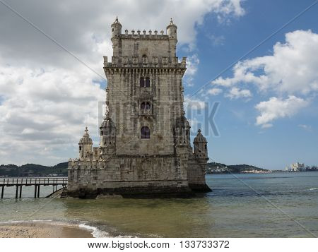 the Tower of belem in the City of lissabon