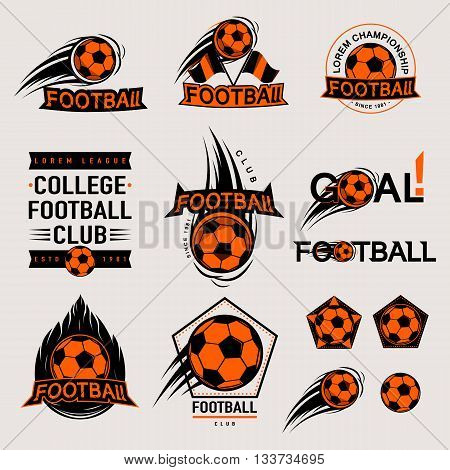 Set of color vintage, modern and retro logo badges and labels football game, club, sign Goal, soccer ball. Sport typography text, icons and old emblems. Vector illustration easy changed