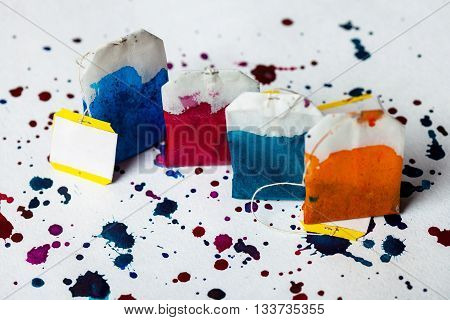 Colorful Teabags In Watercolor