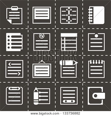 Vector Notes icon set on black background