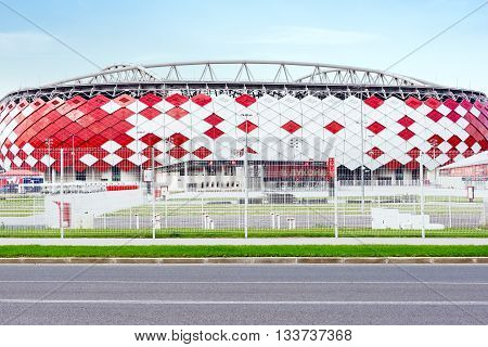 Moscow Russia - September 20 2015: View of the entrance of Otkrytie Arena. Home stadium of Spartak football team.