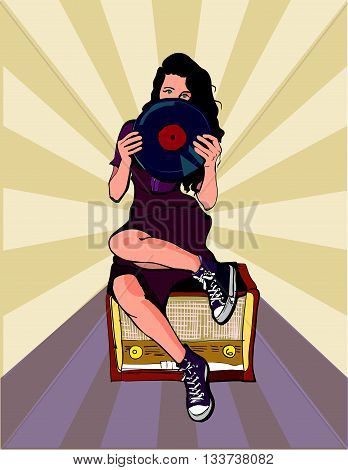 dark-haired girl sitting on the radio with the disc in the hands of.pop art style