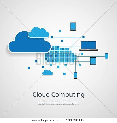 Cloud Computing, Networks Design Concept with Different Icons