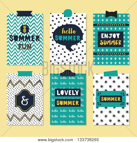 Cute assorted summer quotes journal cards set on beautiful and trendy patterns background