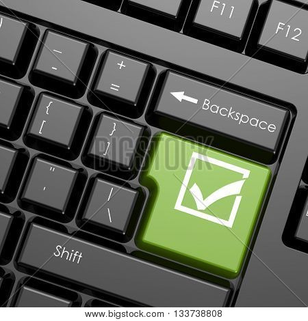 Green enter button with check mark on black keyboard isolated image 3D rendering