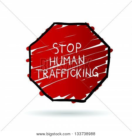 stop trafficking cartoon illustration in color on white