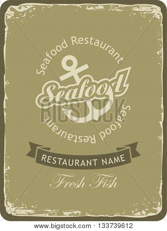 Retro banner for a seafood restaurant with an anchor