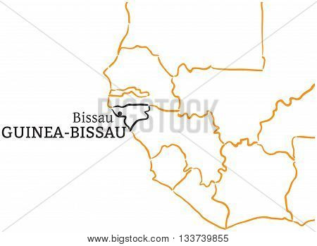 Guinea-Bissau country with its capital Bissau in Africa hand-drawn sketch map isolated on white