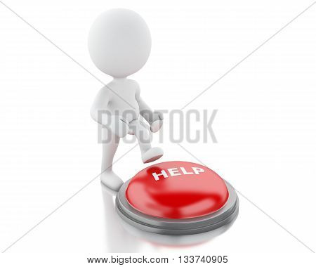 3d renderer image. White people push HELP button. Isolated white background.