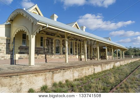 Burra South Australia Australia - June 4 2016: The historic site of the Old Burra Railway Station which was newly restored and reopened in March 2015 now used as a Bed and Breakfast and tourist destination.