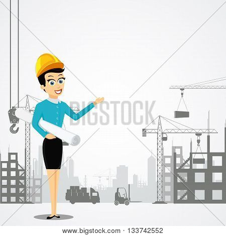Woman engineer with the architectural project. Construction of buildings. Stock vector illustration.