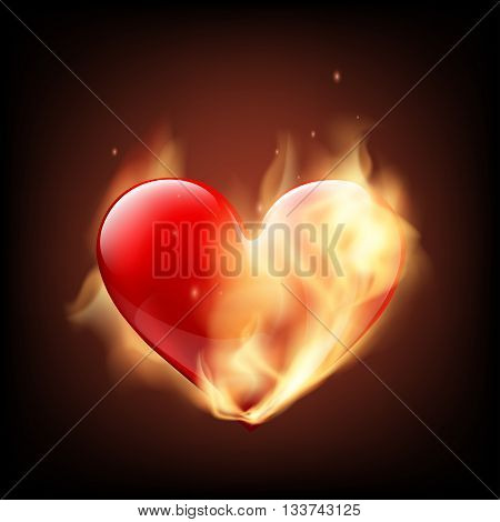 Red human heart on fire. Isolated on black background. Stock Vector illustration.