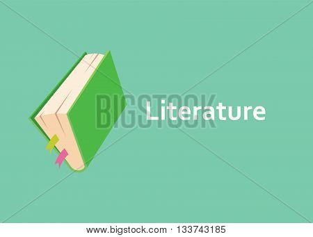 literature books with green cover style with text on side vector graphic illustration