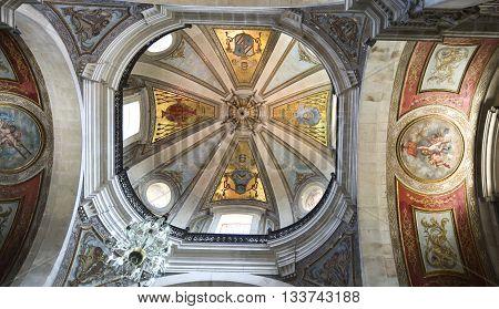 BRAGA, PORTUGAL - September 21, 2015: Inside view of the dome of the Basilica of Bom Jesus on September 21, 2015 in Braga, Portugal