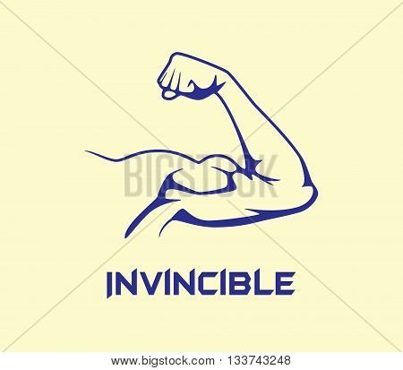 bicep strong with invincible text flat vector graphic illustration