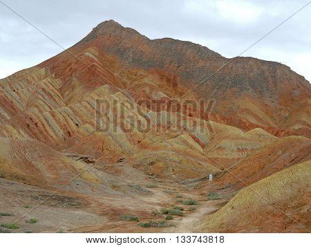 Multicoloured rock of Zangye (Zhangye Danxia) in Gansu, China