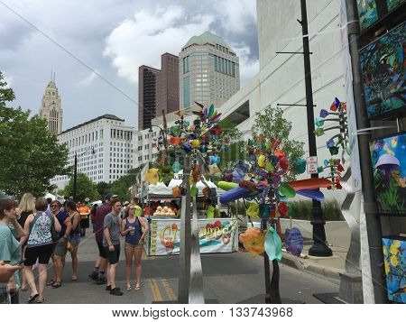 COLUMBUS, OHIO - JUNE 10, 2016:  The Columbus Arts Festival is one of the premiere events in  central Ohio.
