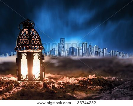 lighting with candle inside Lantern shining on sand floor playground children play with it in Ramadan night arabic style lantern vintage lantern
