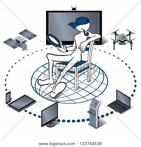 Internet of things represented by consumer and connected devices as isometric vector illustration,  objects are smart phone, tablet, notebook,  drone, satellite.