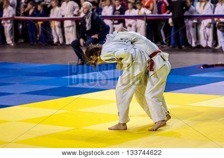Orenburg, Russia - 16 April 2016: Girls Compete In Judo
