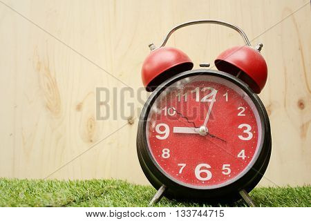 Alarm clock on background of green grass.