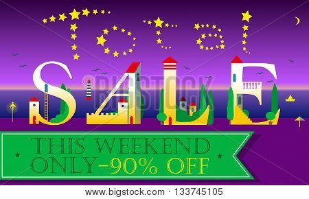 Total Sale Inscription. This weekend only. Ninety percents off. Cute houses Font. Stars in the night sky. Green banner. Illustration.