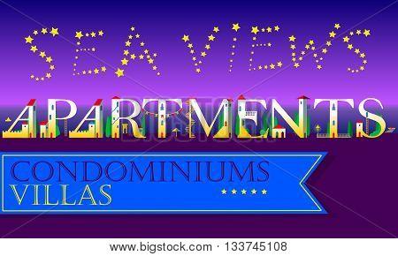 Sea Views Apartments Inscription. Condominiums. Villas. Cute houses Font. Stars in the night sky. Blue banner. Illustration.