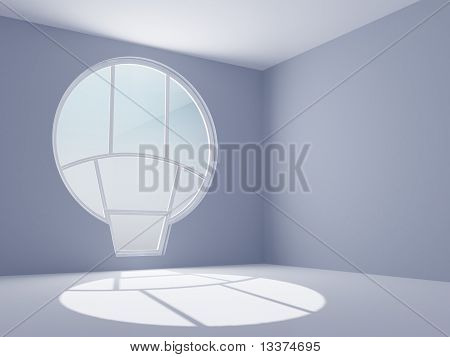 empty room with a round window
