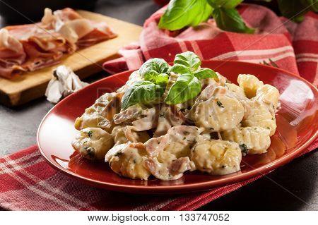 Potato Gnocchi, Italian Potato Dumplings With Cheese Sauce, Ham