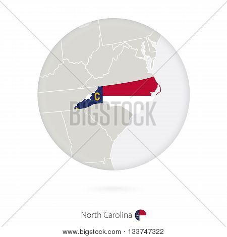 Map Of North Carolina State And Flag In A Circle.