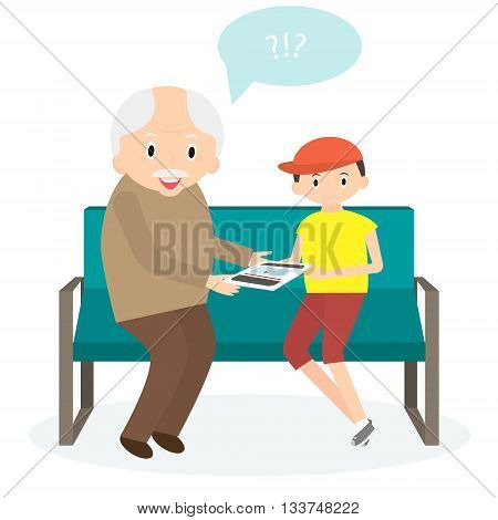 Grandfather with tablet. Grandson teaches to use tablet. Vector illustration